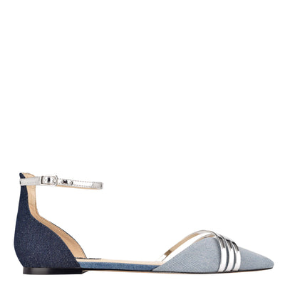 나인 웨스트 NINE WEST Brana Pointy Toe Flats,Denim/Silver