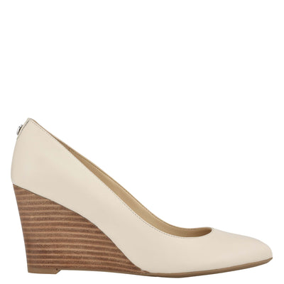 나인 웨스트 드레스 웻지 NINE WEST Cal 9x9 Dress Wedges,Ivory Leather