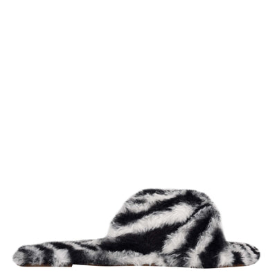 나인 웨스트 NINE WEST Cozy Flat Slide Sandals,Zebra