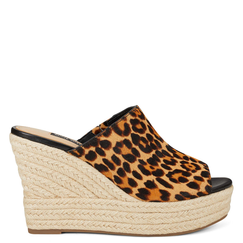 나인 웨스트 데나 에스파드류 샌들 NINE WEST Denna Espadrille Slide Sandals,Mini Leopard Haircalf