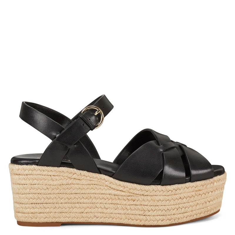 나인 웨스트 에스파드류 플랫폼 샌들 NINE WEST Everlie Espadrille Platform Sandals,Black Leather