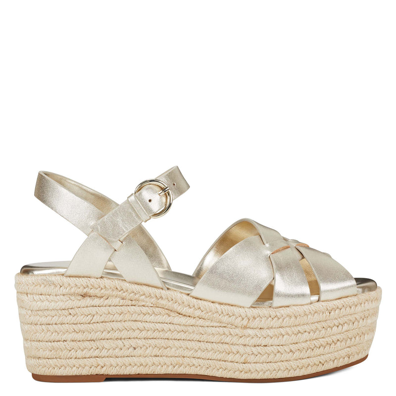 나인 웨스트 에스파드류 플랫폼 샌들 NINE WEST Everlie Espadrille Platform Sandals,Gold Leather