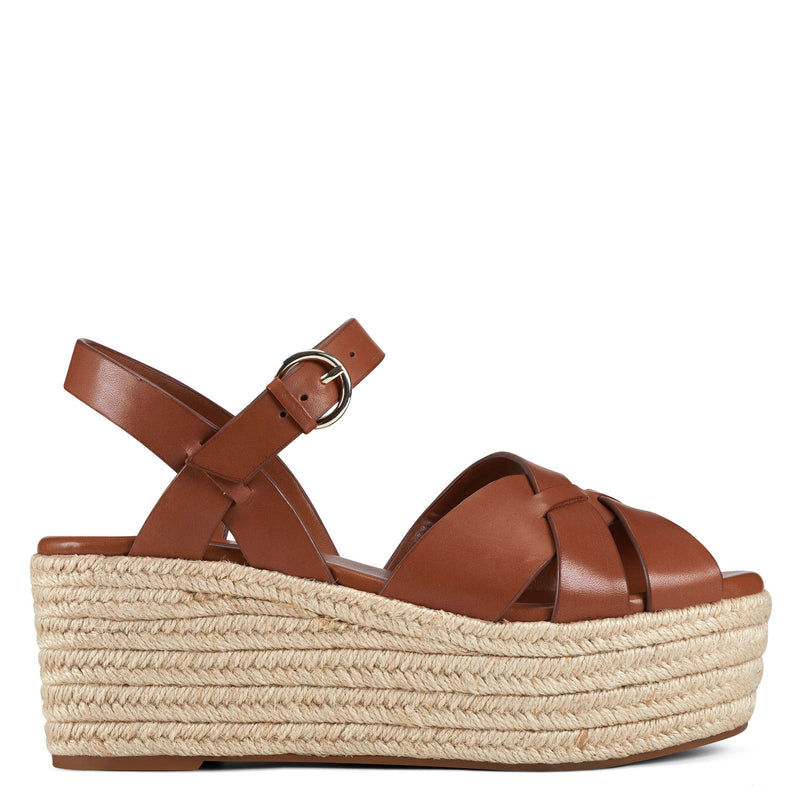 나인 웨스트 에스파드류 플랫폼 샌들 NINE WEST Everlie Espadrille Platform Sandals,Brown Leather