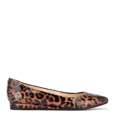 나인 웨스트 NINE WEST Ferdi 9x9 Pointy Toe Flats,Leopard Patent