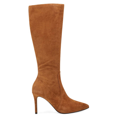 나인 웨스트 NINE WEST Fivera Pointy Toe Boot,Dark Natural Suede
