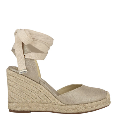 나인 웨스트 에스파드류 웻지 샌들 NINE WEST Friend Ankle Wrap Espadrille Wedge Sandals,Platino