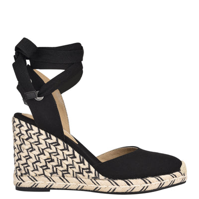 나인 웨스트 에스파드류 웻지 샌들 NINE WEST Friend Ankle Wrap Espadrille Wedge Sandals,Black Canvas