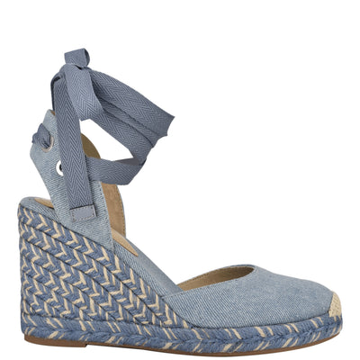 나인 웨스트 에스파드류 웻지 샌들 NINE WEST Friend Ankle Wrap Espadrille Wedge Sandals,Denim