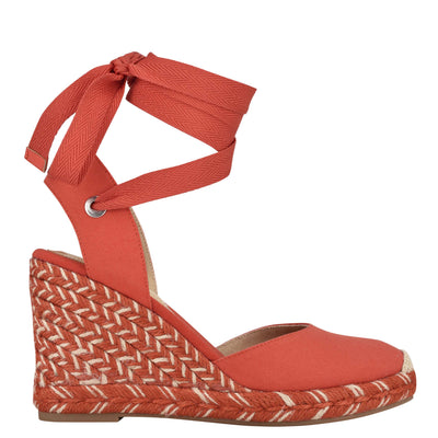 나인 웨스트 에스파드류 웻지 샌들 NINE WEST Friend Ankle Wrap Espadrille Wedge Sandals,Pepper Canvas