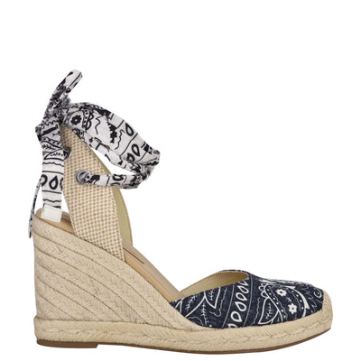 나인 웨스트 에스파드류 웻지 샌들 NINE WEST Friend Ankle Wrap Espadrille Wedge Sandals,Navy Bandana Print
