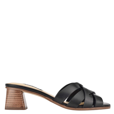 나인 웨스트 NINE WEST Garnet Slide Sandals,Black Leather