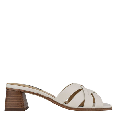 나인 웨스트 NINE WEST Garnet Slide Sandals,Ivory Leather