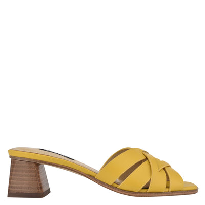 나인 웨스트 NINE WEST Garnet Slide Sandals,Yellow Leather