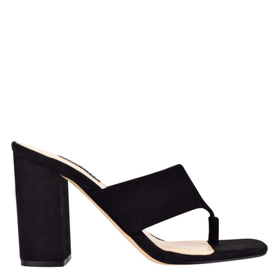 나인 웨스트 NINE WEST Gogo Block Heel Slide Sandals,Black Suede