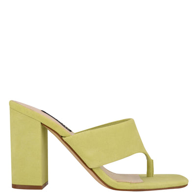 나인 웨스트 NINE WEST Gogo Block Heel Slide Sandals,Neon Lime Suede