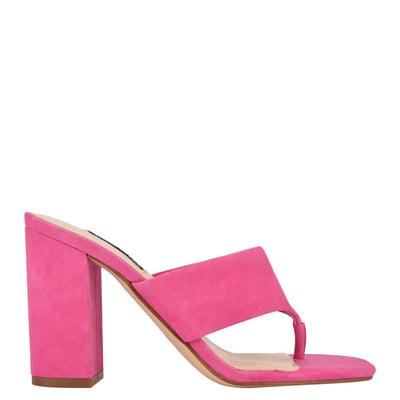 나인 웨스트 NINE WEST Gogo Block Heel Slide Sandals,Shocking Pink Suede