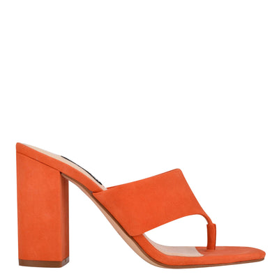 나인 웨스트 NINE WEST Gogo Block Heel Slide Sandals,Orange Suede