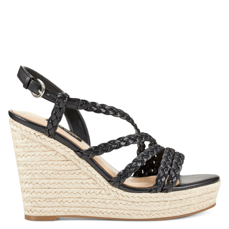 나인 웨스트 샌들 NINE WEST Halsee Espadrille Wedge Sandals,Black