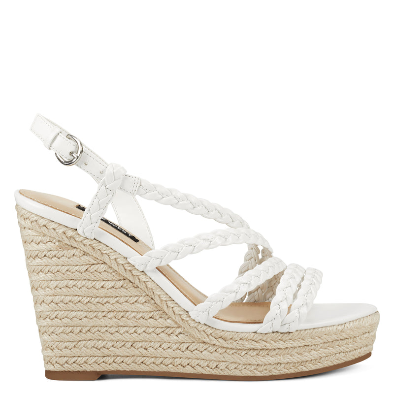 나인 웨스트 샌들 NINE WEST Halsee Espadrille Wedge Sandals,White