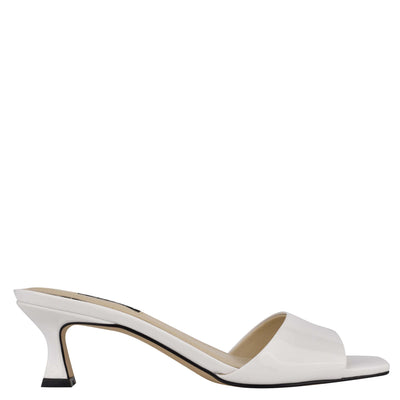 나인 웨스트 NINE WEST Indra Heeled Slide Sandals,White Patent