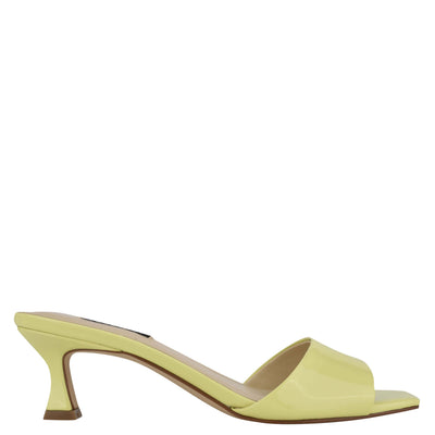 나인 웨스트 NINE WEST Indra Heeled Slide Sandals,Yellow Patent