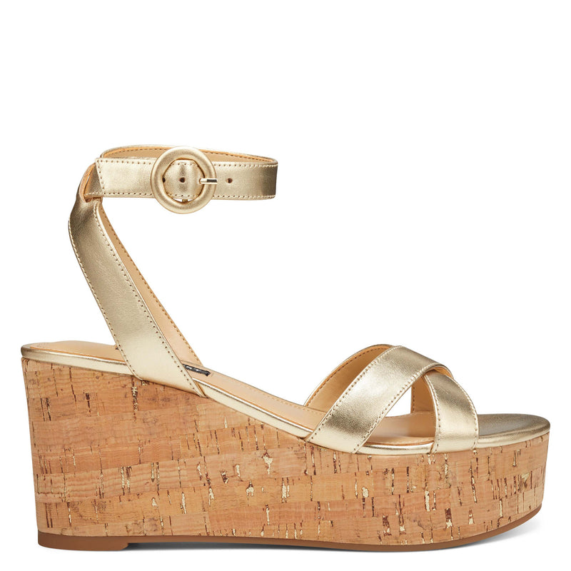 나인 웨스트 NINE WEST Janessa Ankle Strap Wedges,Metallic Gold Leather