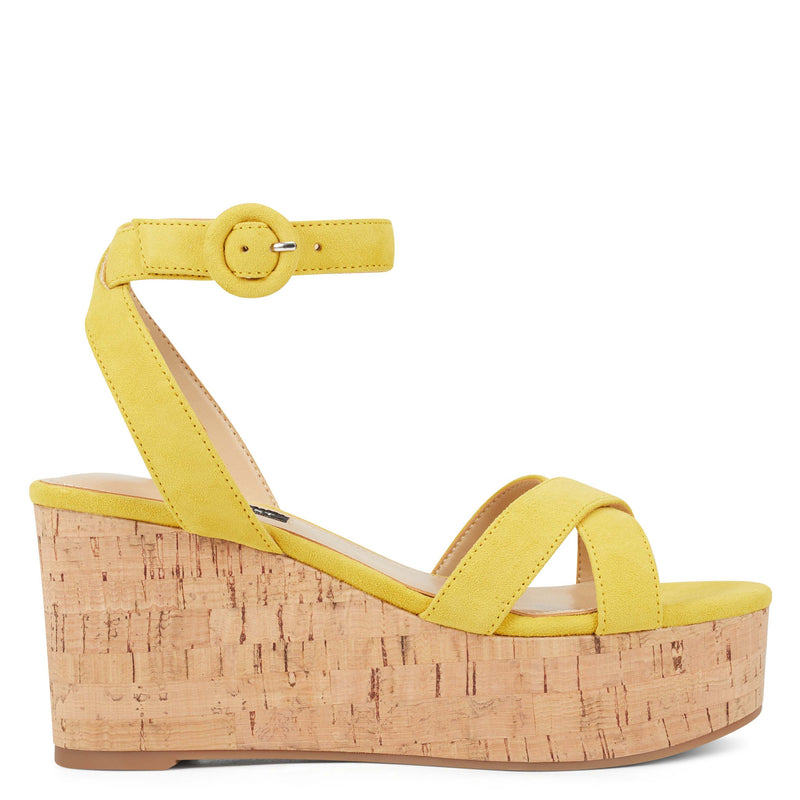 나인 웨스트 NINE WEST Janessa Ankle Strap Wedges,Yellow Suede