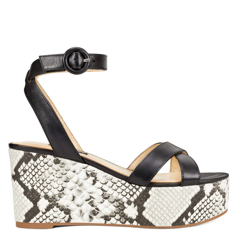 나인 웨스트 NINE WEST Janessa Ankle Strap Wedges,Black Leather