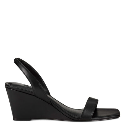 나인 웨스트 웻지 슬링백 샌들 NINE WEST Kalia Wedge Slingback Sandals,Black