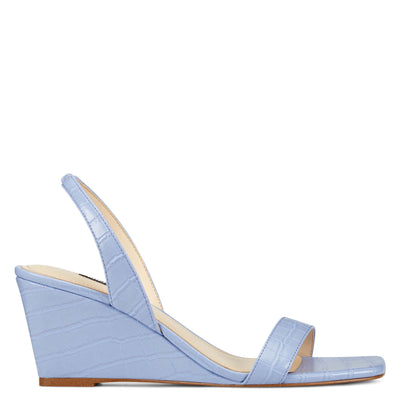 나인 웨스트 웻지 슬링백 샌들 NINE WEST Kalia Wedge Slingback Sandals,Light Blue Embossed Croco