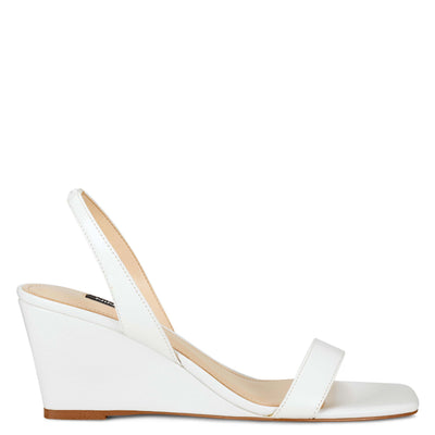 나인 웨스트 웻지 슬링백 샌들 NINE WEST Kalia Wedge Slingback Sandals,White