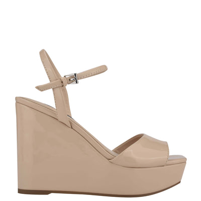 나인 웨스트 NINE WEST Kinda Platform Ankle Strap Sandals,Natural Patent
