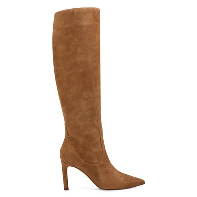나인 웨스트 NINE WEST Maxim Heel Boots,Dark Natural Suede