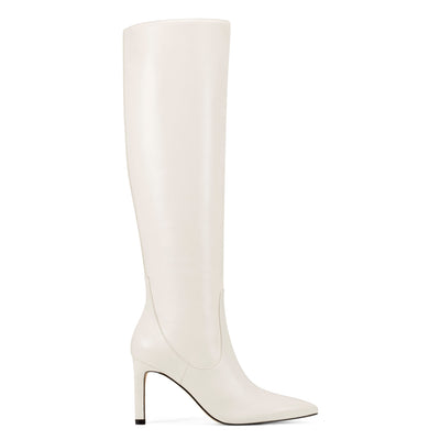 나인 웨스트 NINE WEST Maxim Heel Boots,Cream Leather