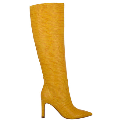 나인 웨스트 NINE WEST Maxim Heel Boots,Yellow Embossed Croco