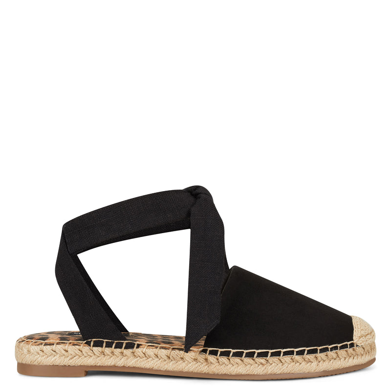 나인 웨스트 샌들 NINE WEST More Flat Espadrille Sandal,Black Multi Fabric