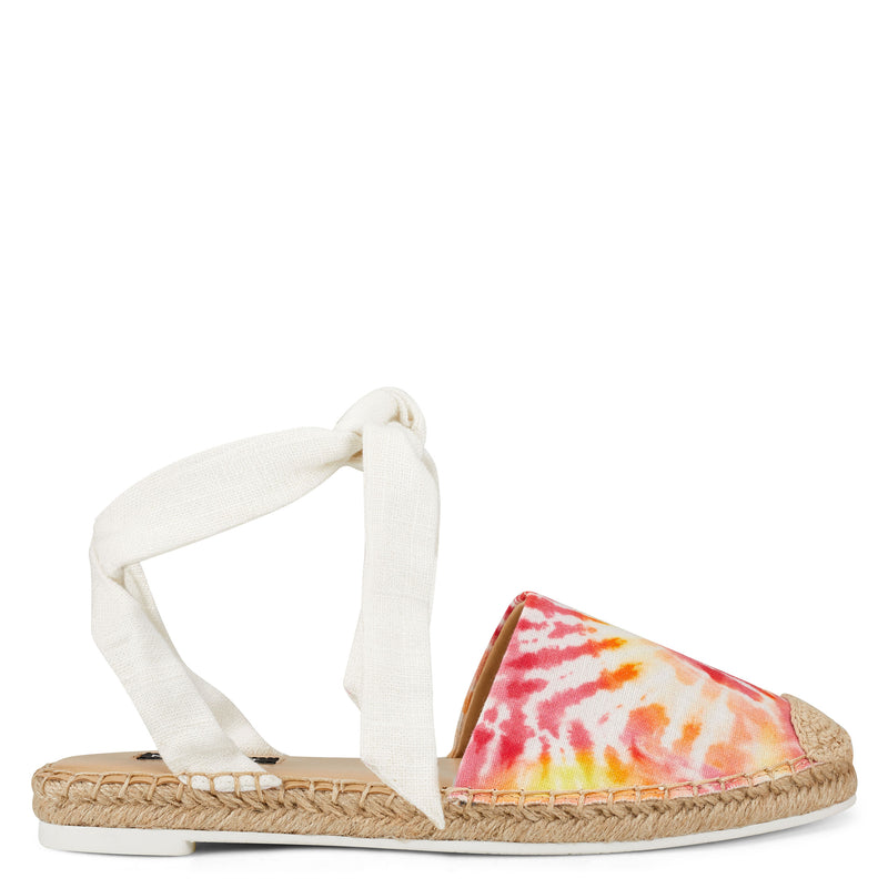 나인 웨스트 샌들 NINE WEST More Flat Espadrille Sandal,Pink Tie-Dye Fabric