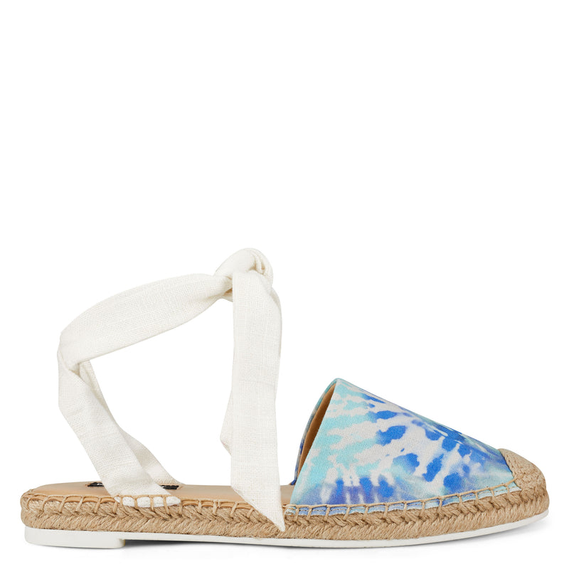 나인 웨스트 샌들 NINE WEST More Flat Espadrille Sandal,Blue Tie-Dye Fabric