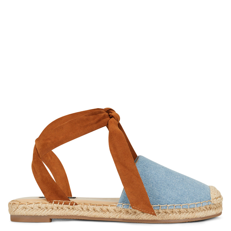 나인 웨스트 샌들 NINE WEST More Flat Espadrille Sandal,Brown/Denim