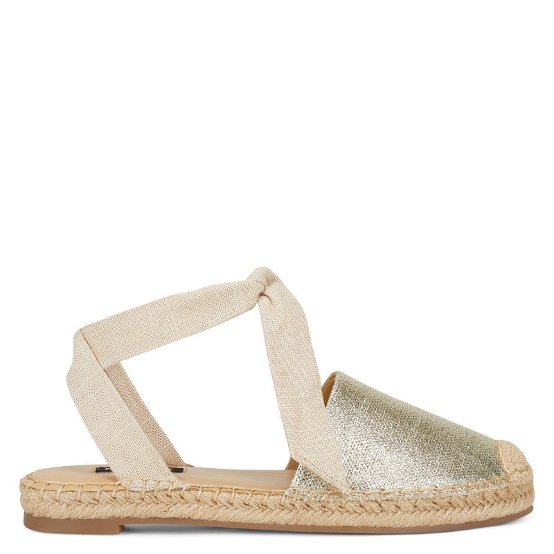 나인 웨스트 샌들 NINE WEST More Flat Espadrille Sandal,Metallic Canvas