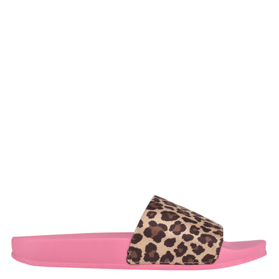 나인 웨스트 NINE WEST Sandbar Flat Slide Sandals,Leopard/Pink
