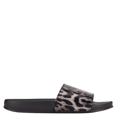 나인 웨스트 NINE WEST Sandbar Flat Slide Sandals,Leopard
