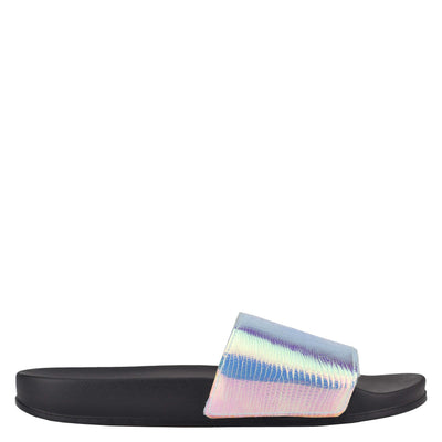 나인 웨스트 NINE WEST Sandbar Flat Slide Sandals,Iridescent Lizard Print