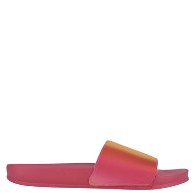 나인 웨스트 NINE WEST Sandbar Flat Slide Sandals,Pink/Yellow Multi