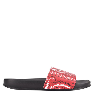나인 웨스트 NINE WEST Sandbar Flat Slide Sandals,Red Bandana Print