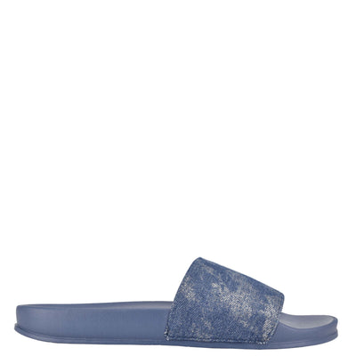 나인 웨스트 NINE WEST Sandbar Flat Slide Sandals,Sparkle Denim