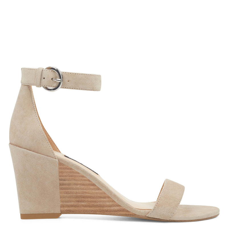 나인 웨스트 NINE WEST Sloane Wedge Sandals,Natural Suede