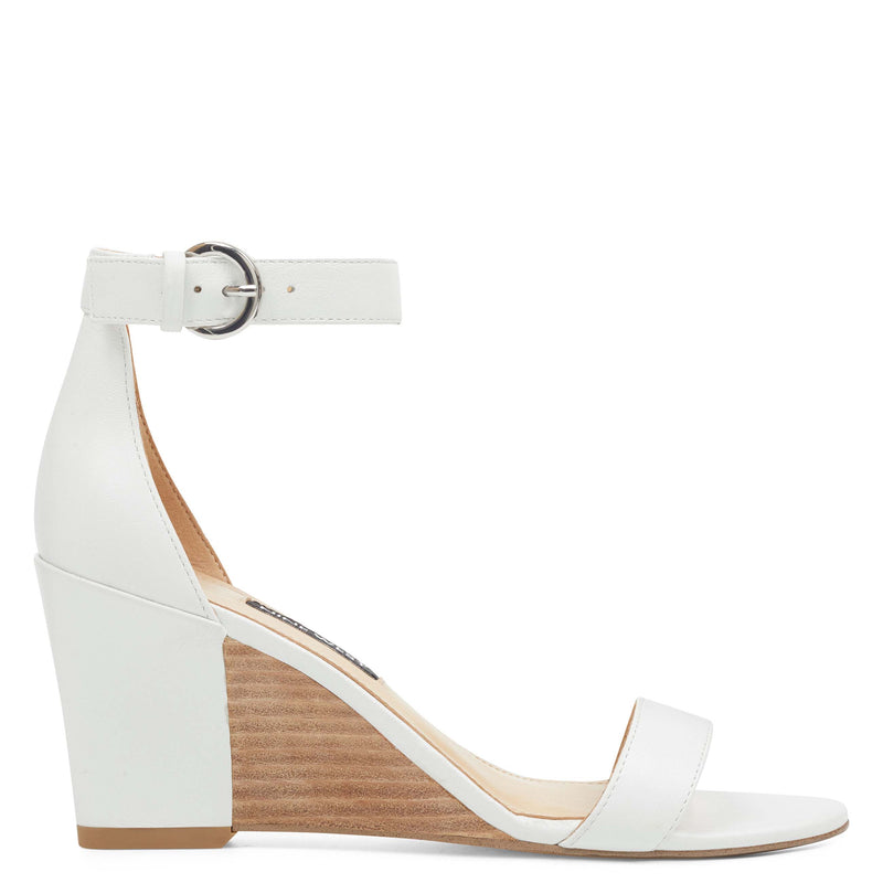 나인 웨스트 NINE WEST Sloane Wedge Sandals,White Leather