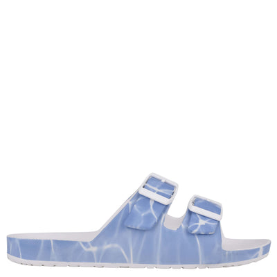 나인 웨스트 NINE WEST Splash Flat Slide Sandals,Blue Multi