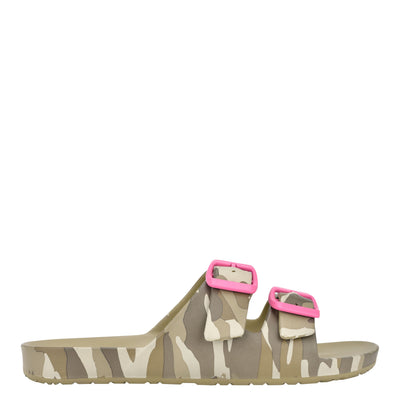 나인 웨스트 NINE WEST Splash Flat Slide Sandals,Camo Multi